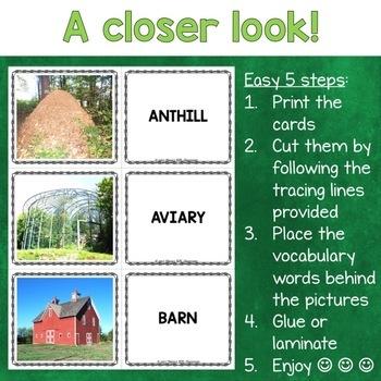 Animal Homes Photo Flash Cards