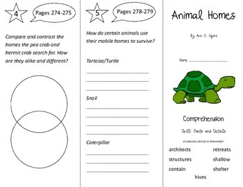 Animal Homes Trifold - Treasures 3rd Grade Unit 5 Week 5 (2009)