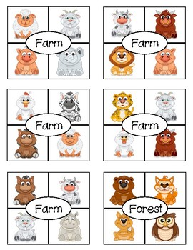 Animal Homes: What Doesn't Belong? Clip Card Squares FREEBIE
