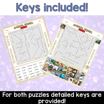 Animal Homes Word Search Puzzles
