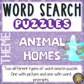 Animal Homes ESL Activities Word Search Puzzles