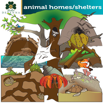 Animal Homes and Shelters Clip Art