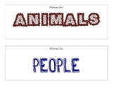 Animal Homes vs People Homes picture sort