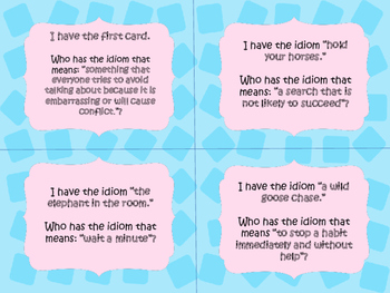 Animal Idiom I Have Who Has Game Cards
