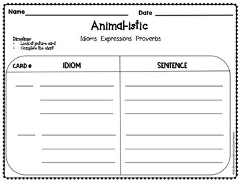 Idioms:  Animal-istic Activities