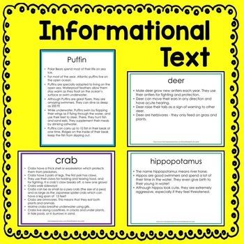 Informational Text Cards 4-Pack (arctic, ocean, woodland & zoo animals) Bundle
