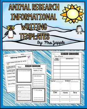 Animal Research Informational Writing Template Pack