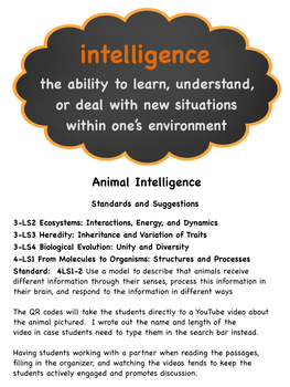 Animal Intelligence:  Reading Passages and Activities