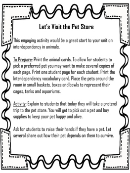 Animal Interdependency- A Visit to the Pet Store