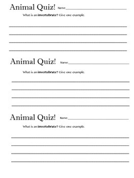 Animal Invertebrate Quiz