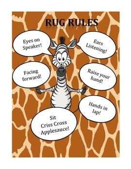 Animal Jungle Theme Rug Rules Poster