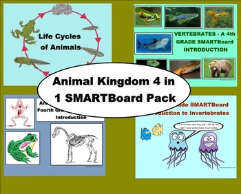 Animal Kingdom 4 in 1 SMARTBoard Pack for 4th Grade