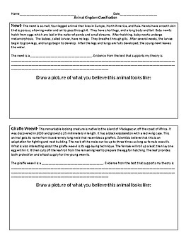 Classifying Animals Performance Task