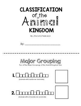 Animal Kingdom Classification Booklet