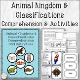 Animal Kingdoms & Classifications Comprehension and Activities