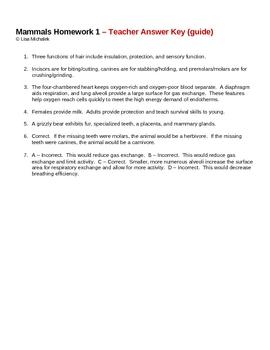 Animal Kingdom Mammals Homework Assignment 1