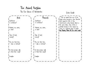 Animal Kingdom Phylum Chordata Note-taking Page