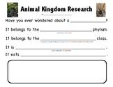 Animal Kingdom Research Task Card - Arthropoda/Chordata