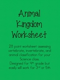 Upper Elementary Science Animal Kingdom Worksheet