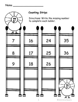 Animal Ladder Counting Strips