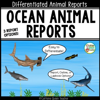 Ocean Animal Report & Informational Writing Lapbook For Research