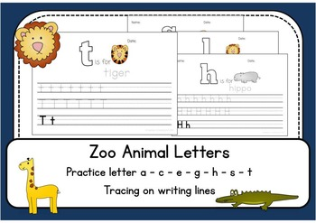 Animal Letter Writing Lines Worksheets - trace and write -