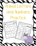Animal Letters and Numbers Practice