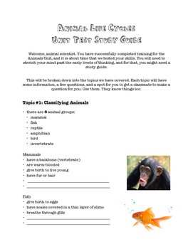 Animal Life Cycles Unit Study Guide - Grade 3