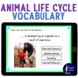 Animal Life Cycles Vocabulary BOOM Cards