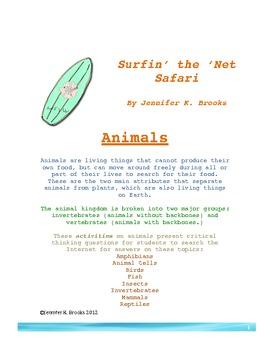 Animal Life Science/ STEM Internet Activity Worksheets w/ Answer Key