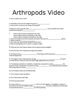Animal Life in Action: Insects and Other Arthropods Video Fill In