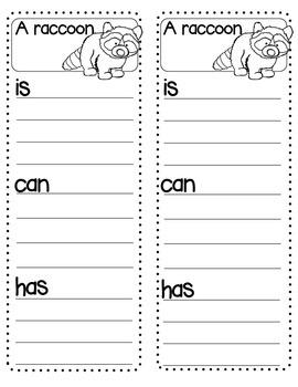 Animal List Writing Center Kindergarten First Grade