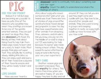 Animal Lovers Close Reading- Smartest Edition