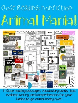 Animal Mania! {14 Nonfiction Close Reading Texts & Activities}
