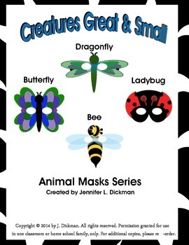 Animal Mask Series-Butterfly, Dragonfly, Bee, & Ladybug