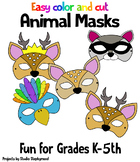 Animal Masks Easy Color and Cut!