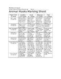 Animal Masks Marking Sheet