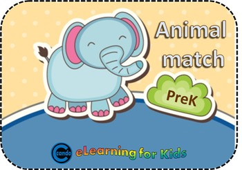 Animal Match Game activity for prek and kindergarten