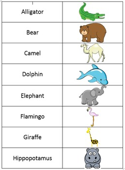 Animal Match Up Card Game