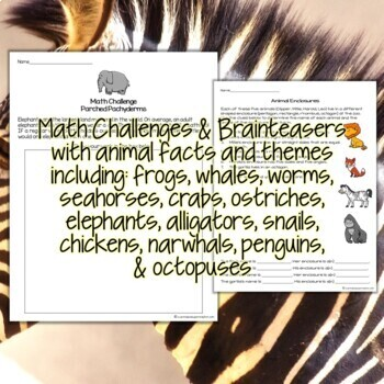 Animal Math Challenges & Brainteasers-Fast Finishers,Centers,Homework,Extensions
