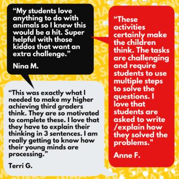 Animal Math Activities | 2nd-3rd Grade Animal Themed Math Challenge Problems