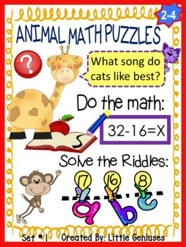 Animal Math Puzzles: Solve the Math and Decode The Riddle!