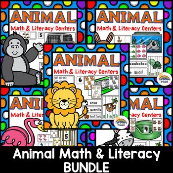 Animal Math and Literacy Centers BUNDLE | Counting Center | Writing Center