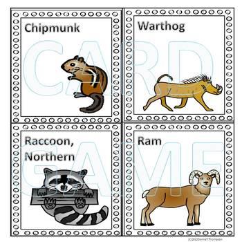 Animals: Memory Game (Set One)