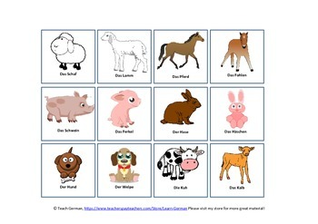 Animal Memory Game - Parent & Baby (German)