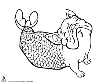 Animal Mermaid Coloring Page Pack- 6 different pages