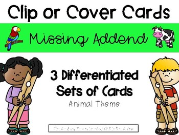 Animal Missing Addend Clip or Cover Cards