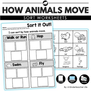 how animals move sort by a kinderteacher life teachers. Black Bedroom Furniture Sets. Home Design Ideas