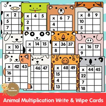 Animal Multiplication Write & Wipe Cards