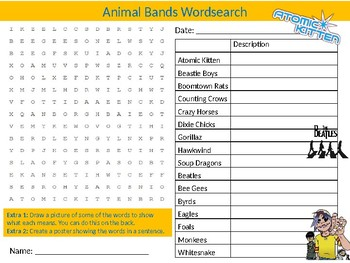 Animal Named Bands Wordsearch Sheet Music Starter Activity Keywords